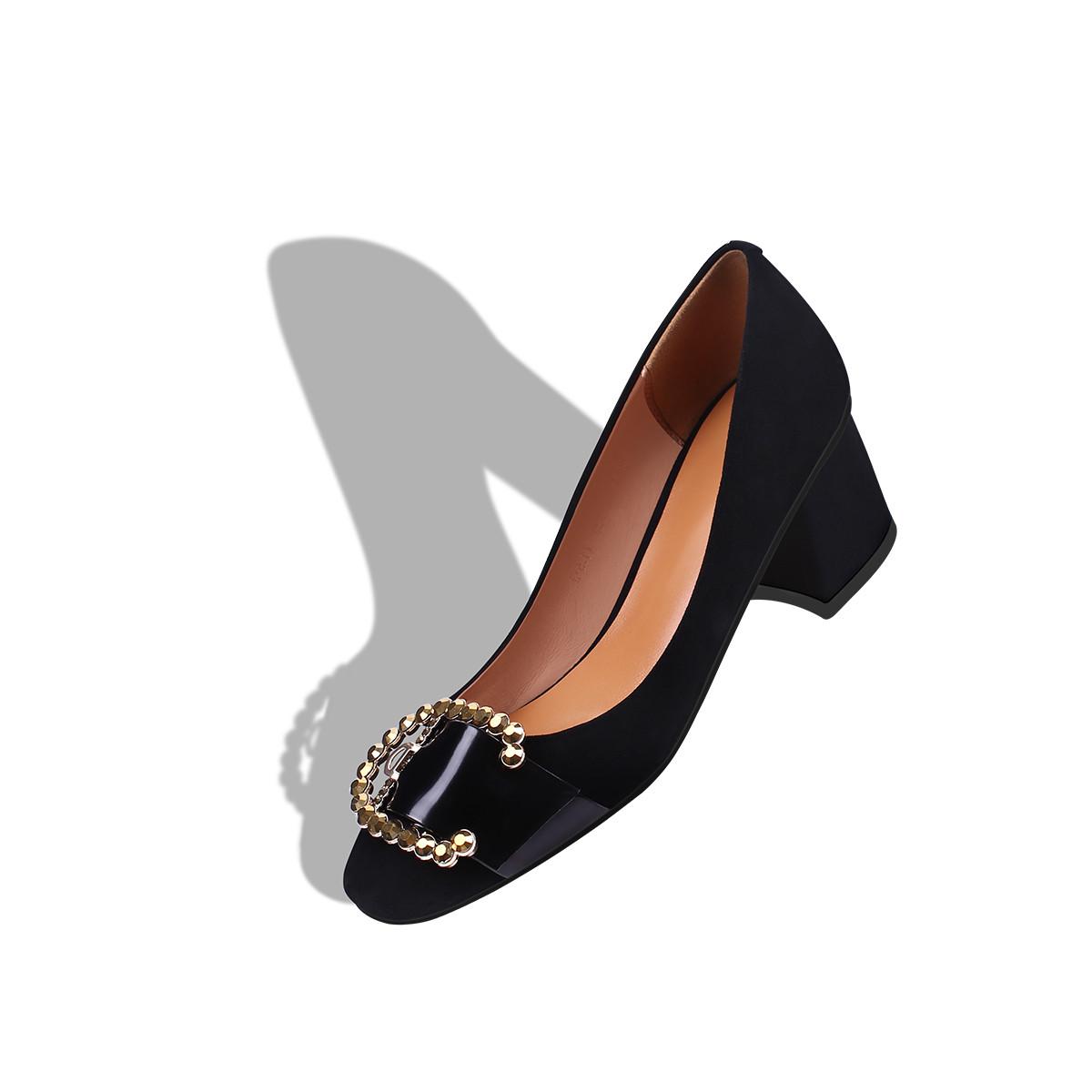 姝菲春季方头羊反绒优雅粗跟女款浅口单鞋S7CD0070HNHS