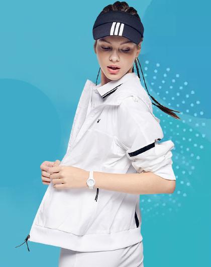 花花公子 19春季新款韩版时尚风衣外套运动女装连帽拉链外套女装