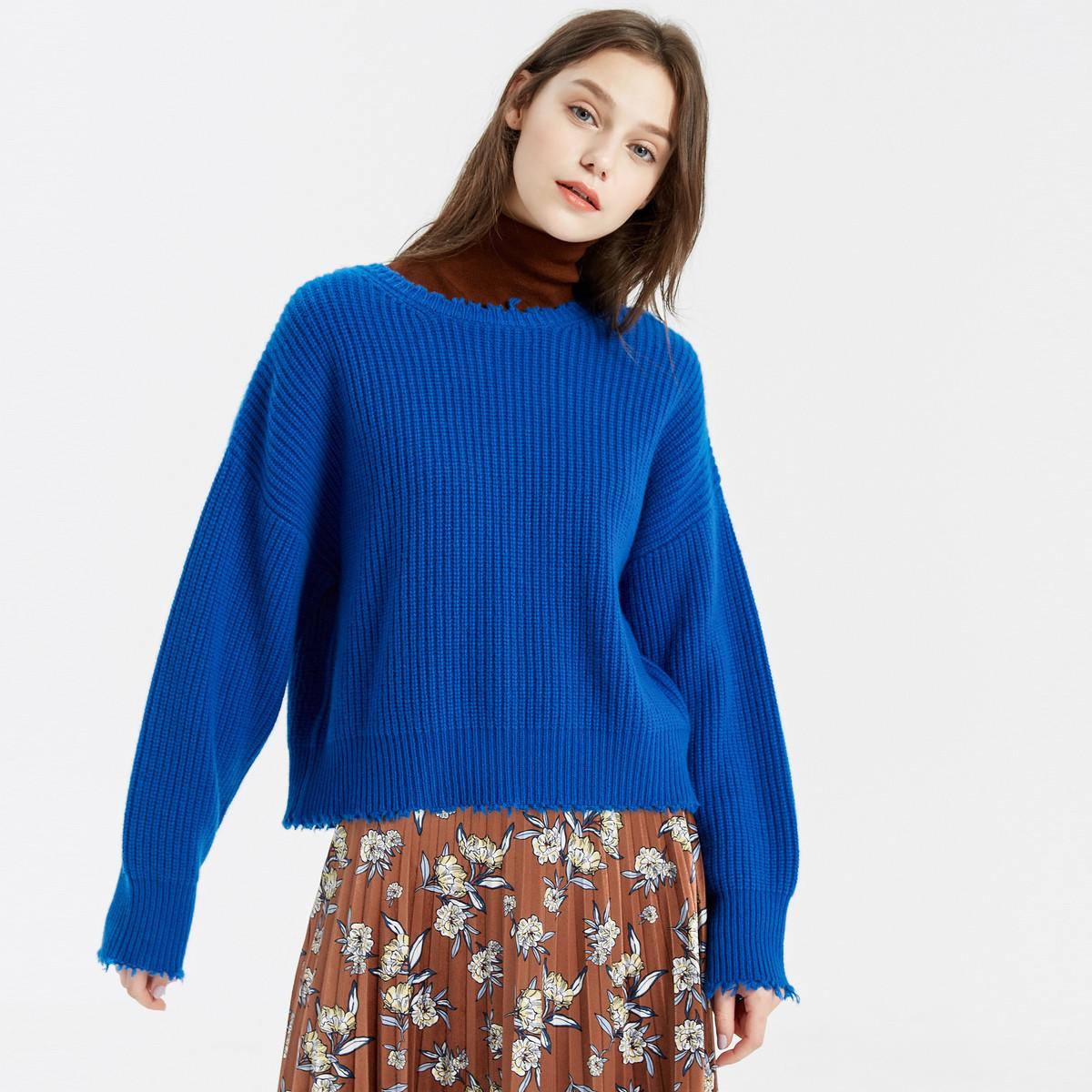 MECITY【本周新品】MECITY女装2018冬季新款女式短款剪口毛衣51996140