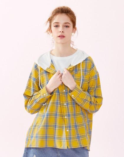 【格子连帽外套式衬衫】森马2019春季新款复古拼接长袖衬衫女图片