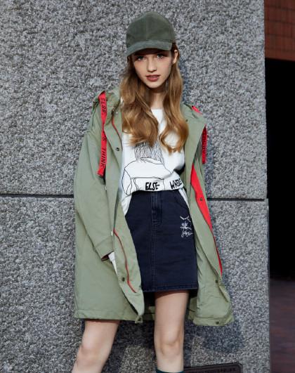 森马女装2019春季风衣外套中长款宽松显瘦织带防风女士风衣女图片