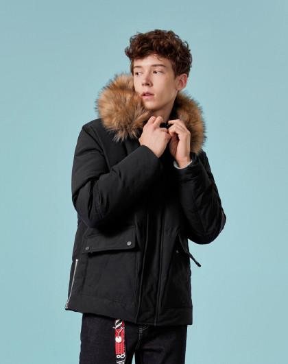 森马2018冬季新款休闲时尚毛领连帽舒适保暖外套男士短款羽绒服男图片