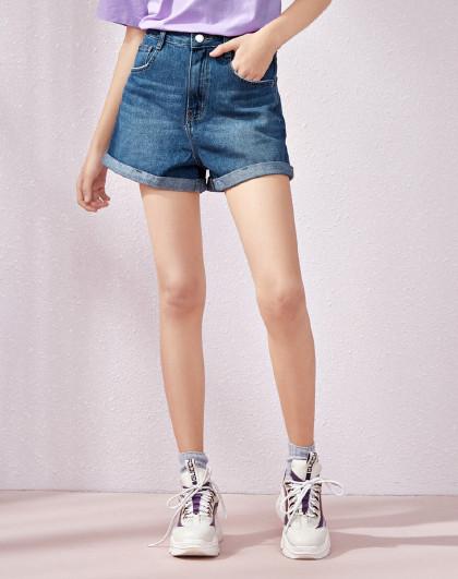 森马2019夏季新款【a型显瘦 翻边】牛仔短裤女图片