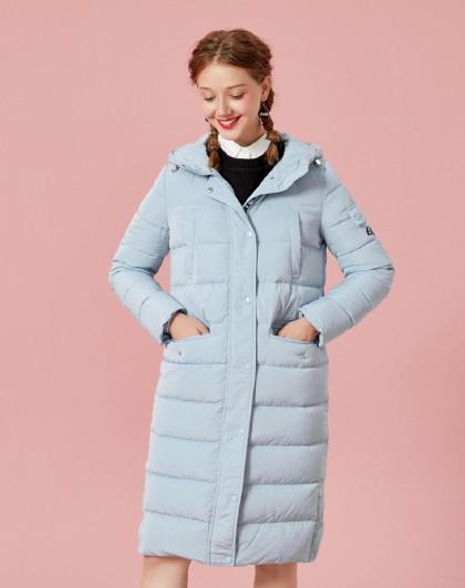 森马2018冬季韩版潮流字母印花中长款外套保暖连帽女士羽绒服女图片