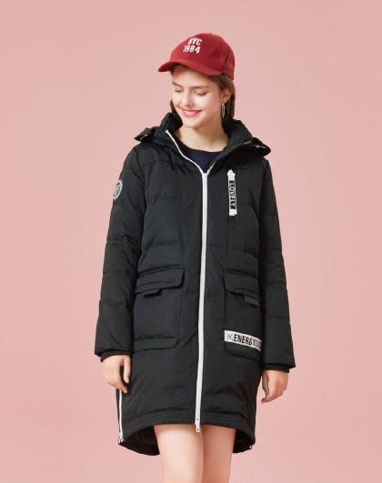 2018冬季新款时尚潮流风宽松撞色字母印花织带口袋保暖显瘦女款羽绒服图片