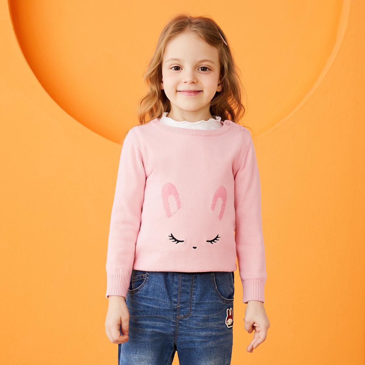 安奈儿安奈儿童装女童圆领套头毛衣2019冬装新款TG944422P073