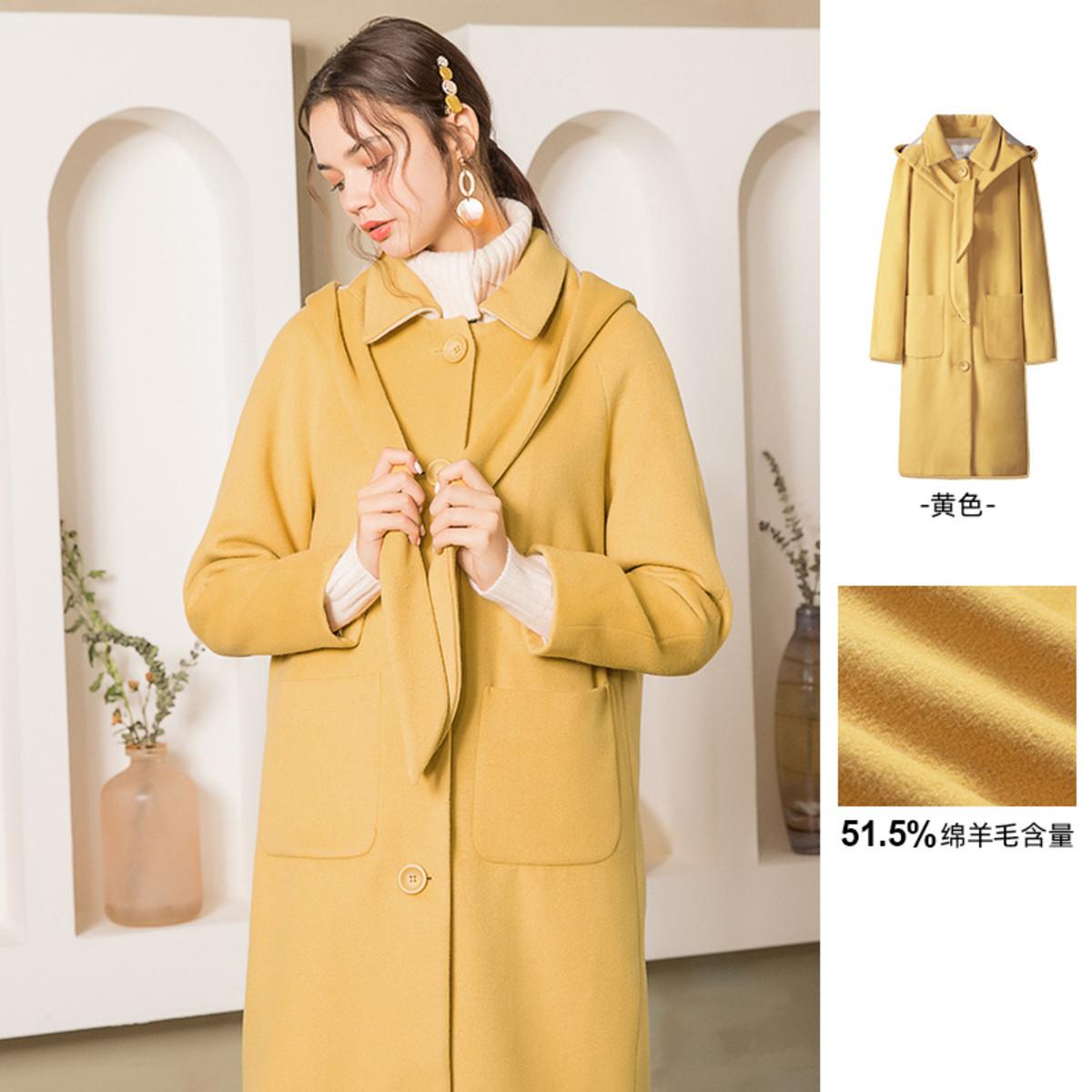 拉谷谷冬季时尚连帽长款插肩袖大衣女黄色甜美长袖外套ICDD339B06K2