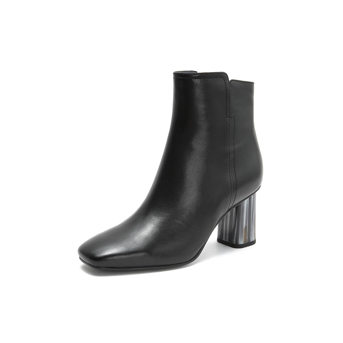 真美诗真美诗冬季专柜同款高跟女靴牛皮短筒靴黑色JZPYPF30DU1DD8