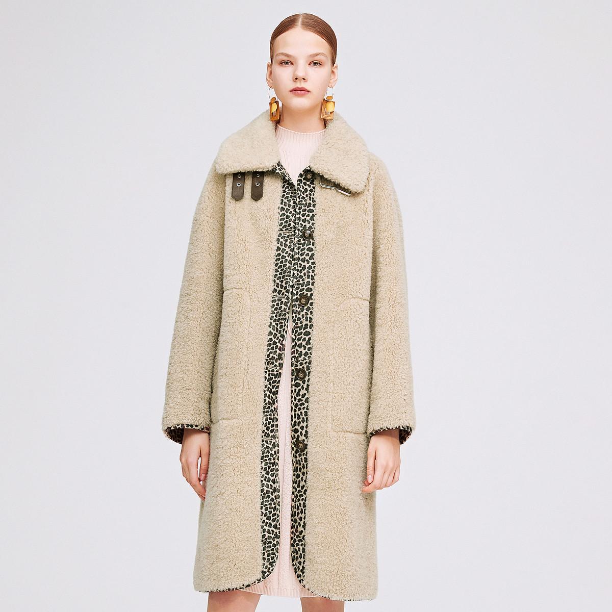 诗篇影儿诗篇2019年冬季新品时尚豹纹中长款外套6C5958016077