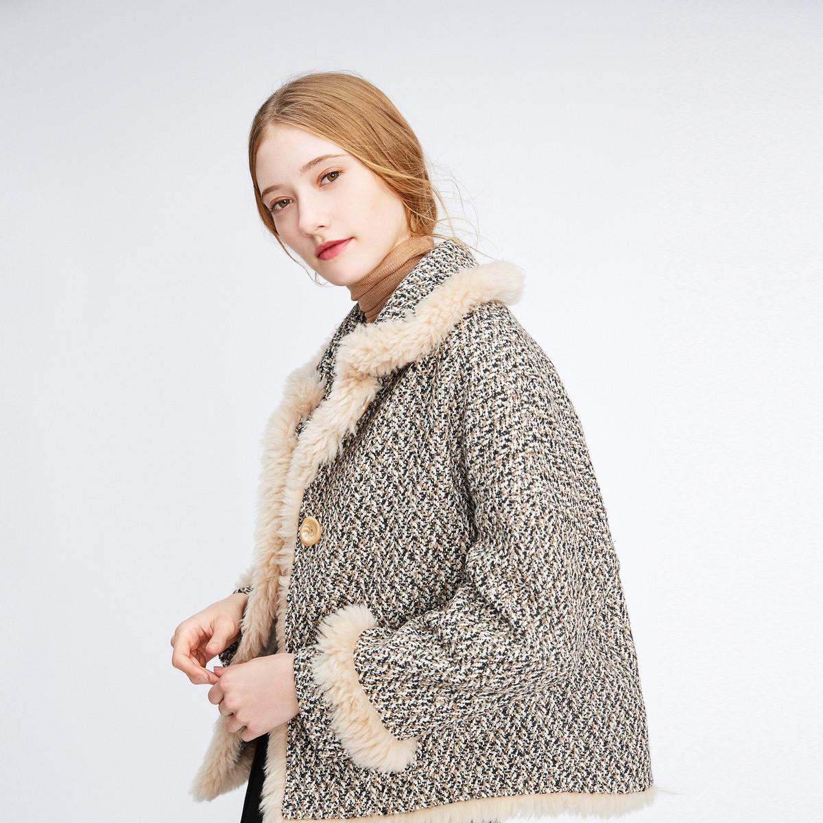 诗篇影儿诗篇2019年冬季新品时尚拼色短外套6C5951077004