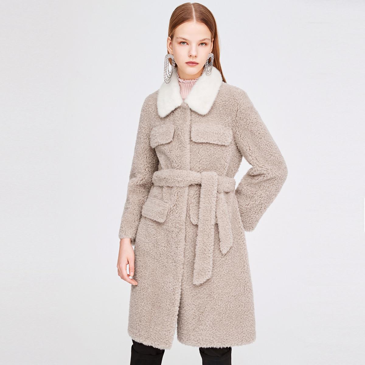 诗篇影儿诗篇2019年冬季新品时尚纯色中长款外套6C5958028075