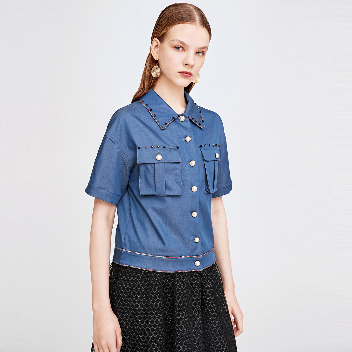 诗篇影儿2019年夏季新品时尚纯色短外套外套6C0921014051