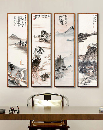 新中式山水画竖版玄关水墨画卧室挂画办公室壁画餐厅客厅装饰画