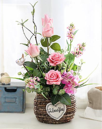 欧式田园客厅插花摆件仿真植物装饰家居摆设假花仿真玫瑰花艺花篮