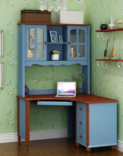 美式书桌书架组合实木地中海书台韩式田园风格儿童电脑桌书房家具图片
