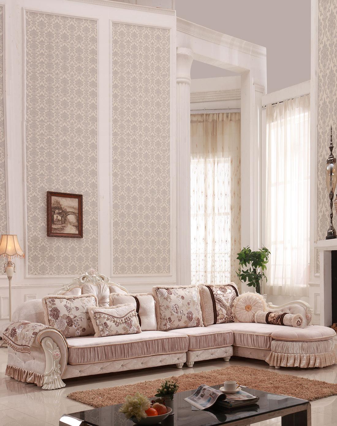 简欧式高档布艺沙发 实木雕花