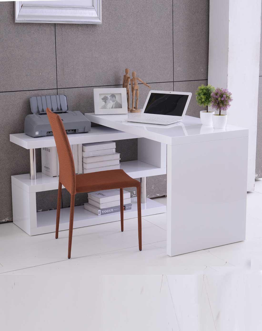 几度jidu家具专场白色钢琴烤漆百变书桌jd092739