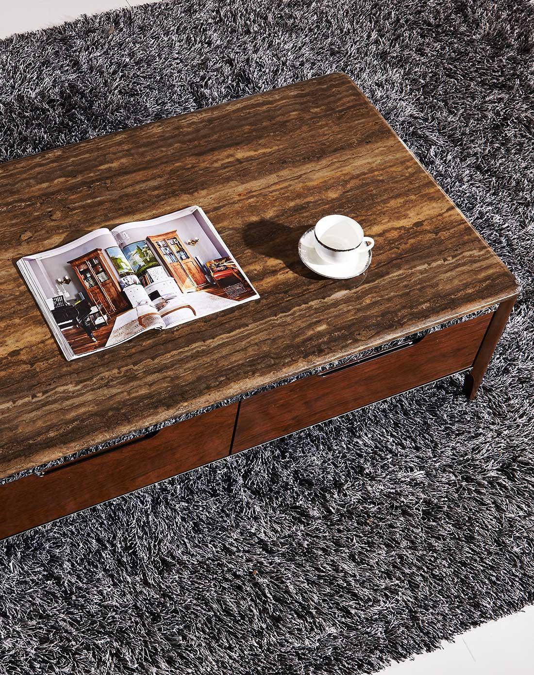几度jidu家具专场北美胡桃木实木大理石现代风格茶几