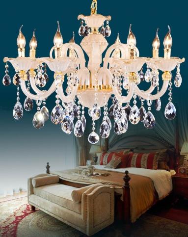欧式客厅吊灯 卧室简约水晶蜡烛灯饰