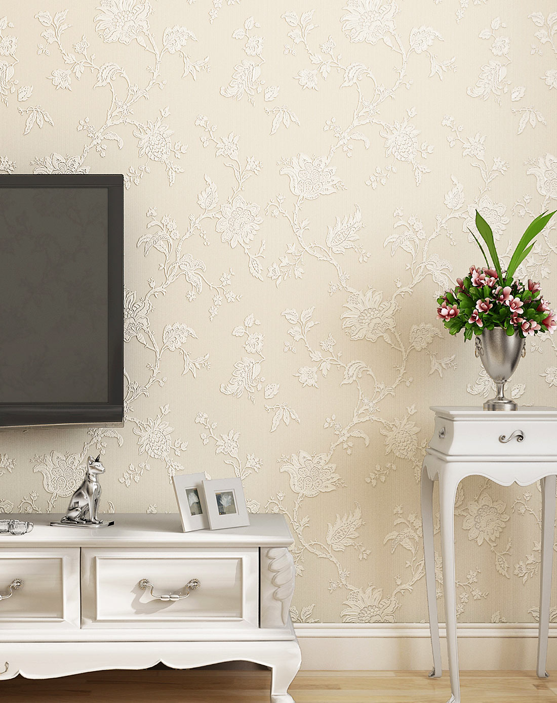 米素墙纸专场米白色欧式简约小花立体无纺布墙纸ms