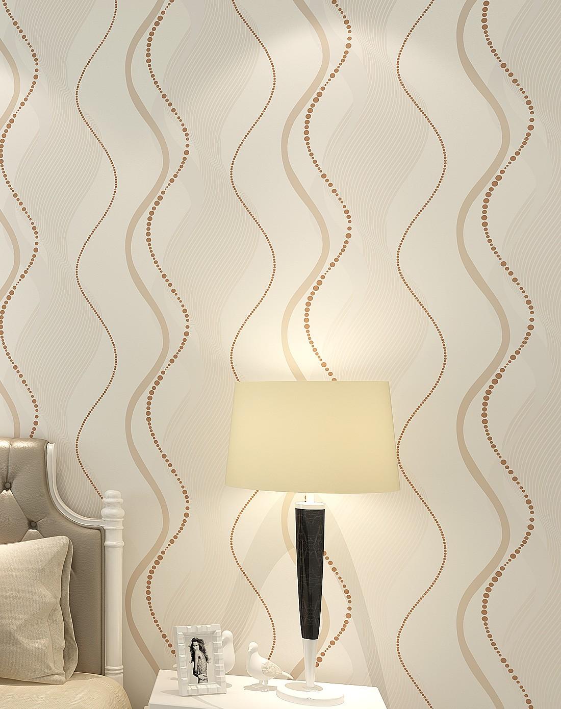 纸尚美学墙纸专场米黄色现代简约时尚条纹客厅卧室ip