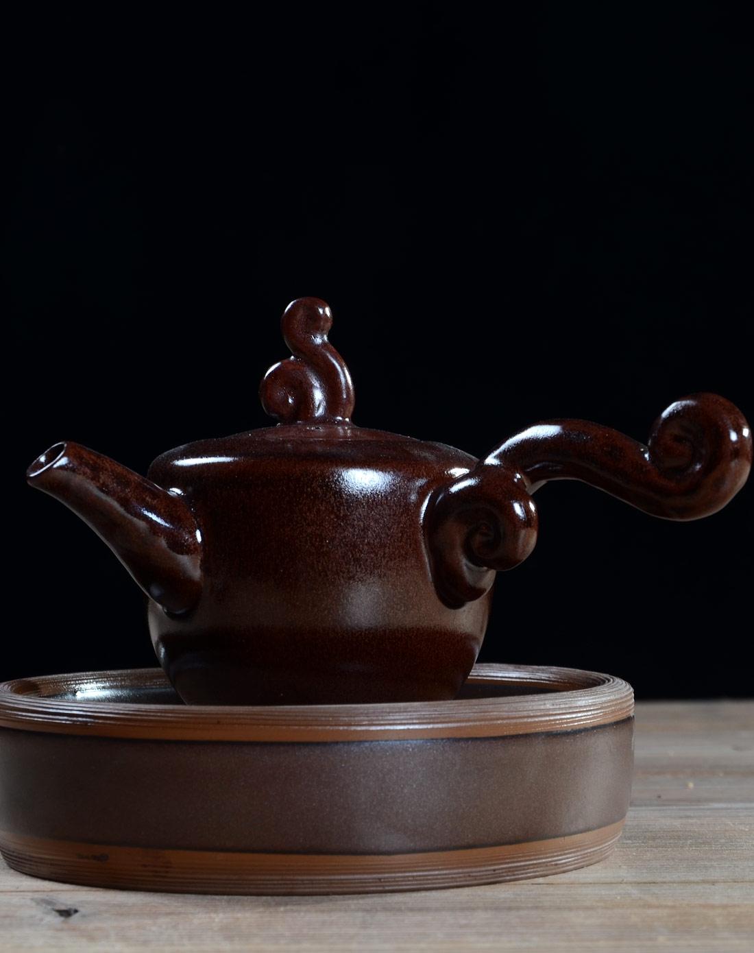 龙鹏茶具专场紫金木雕壶盘壶茶具茶具套装lpcj154