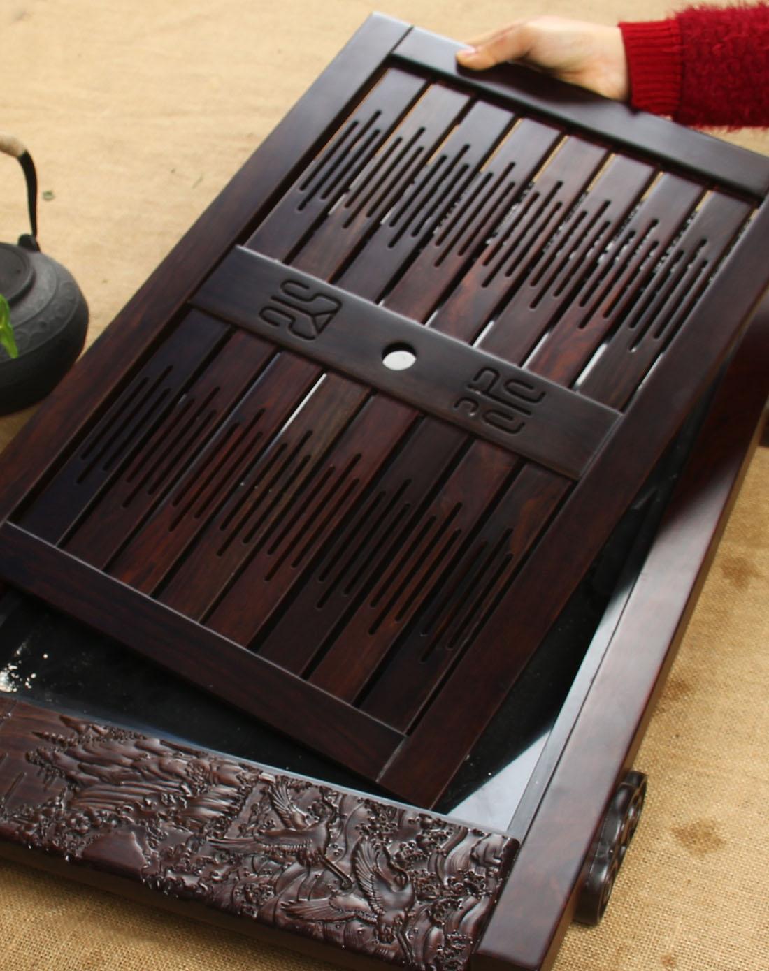 尚帝茶具专场进口黑檀木浮雕雕刻山水茶盘