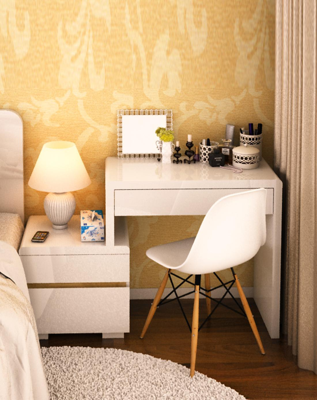 汉斯梳妆台 床头柜组合,梳妆台左右可放 适应空间
