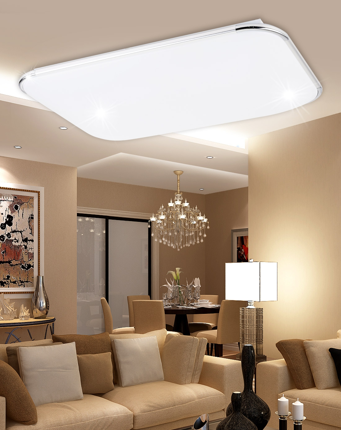 光印灯饰专场欧式长方形客厅现代简约吸顶灯ma1004