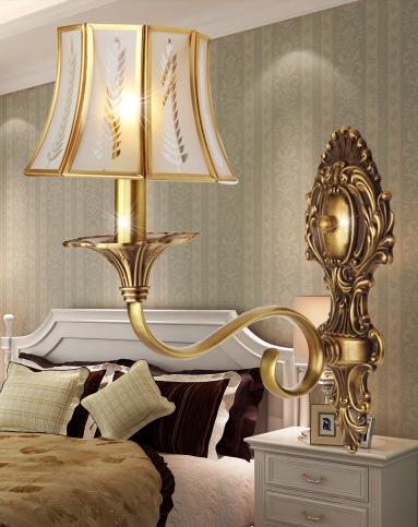 客厅卧室床头壁灯美式铜壁灯图片