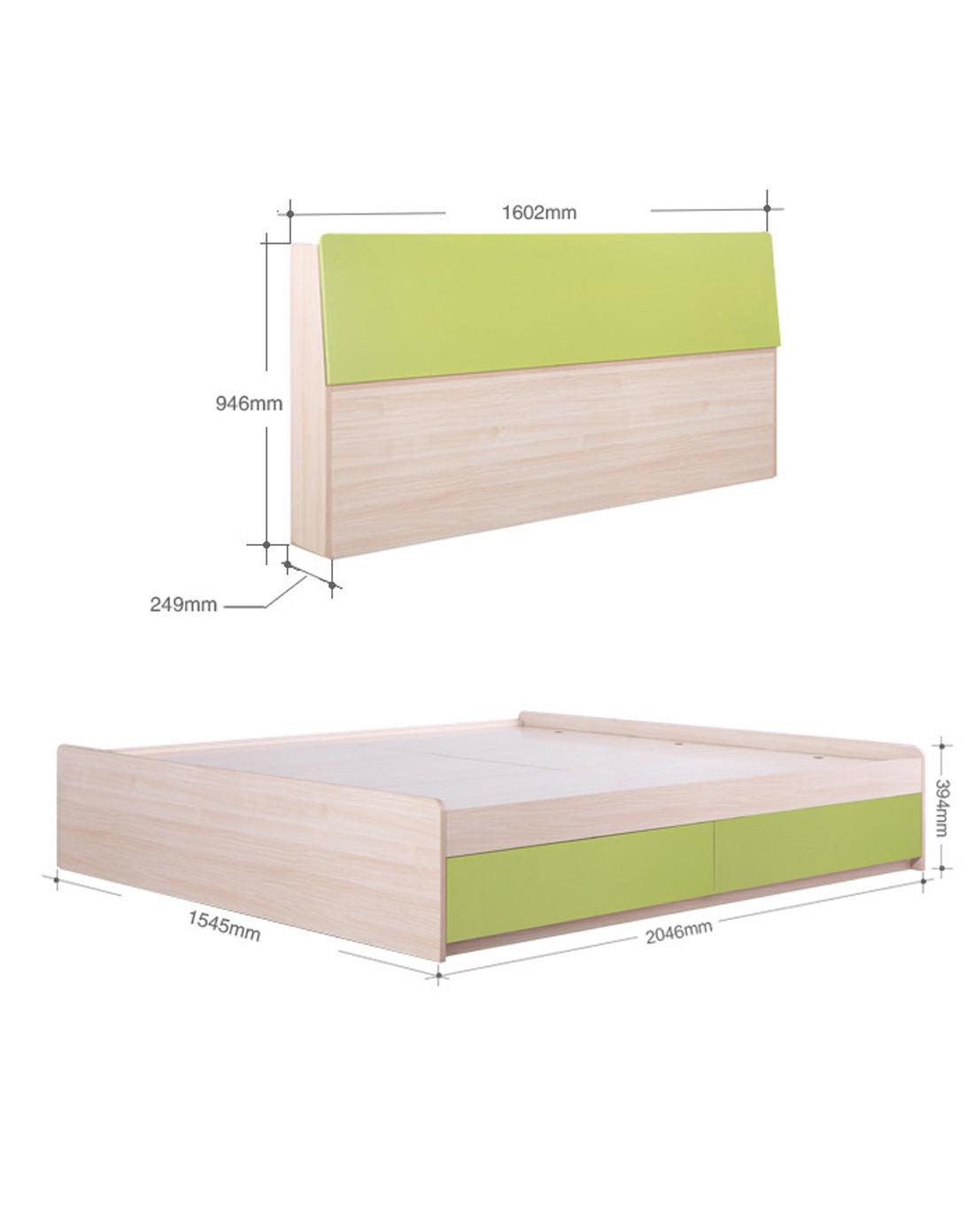 5米储物抽屉床+翻板床头n