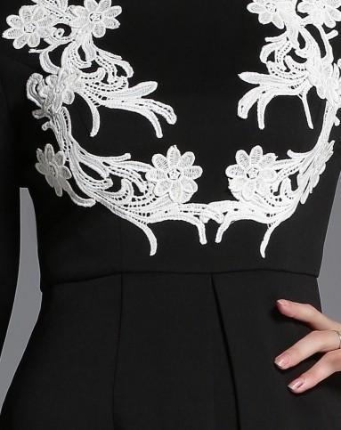 美莎帕mesappas黑色a摆特色花边长袖连衣裙maddl
