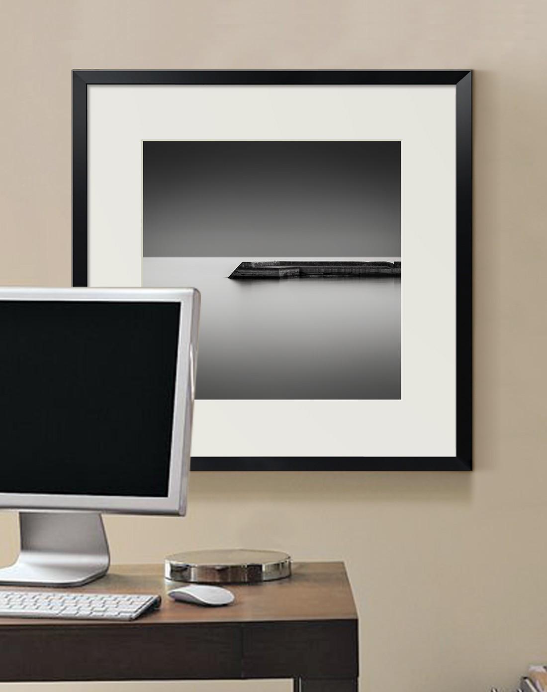 墙蛙装饰画专场54*54cm光影码头黑白客厅装饰画3582