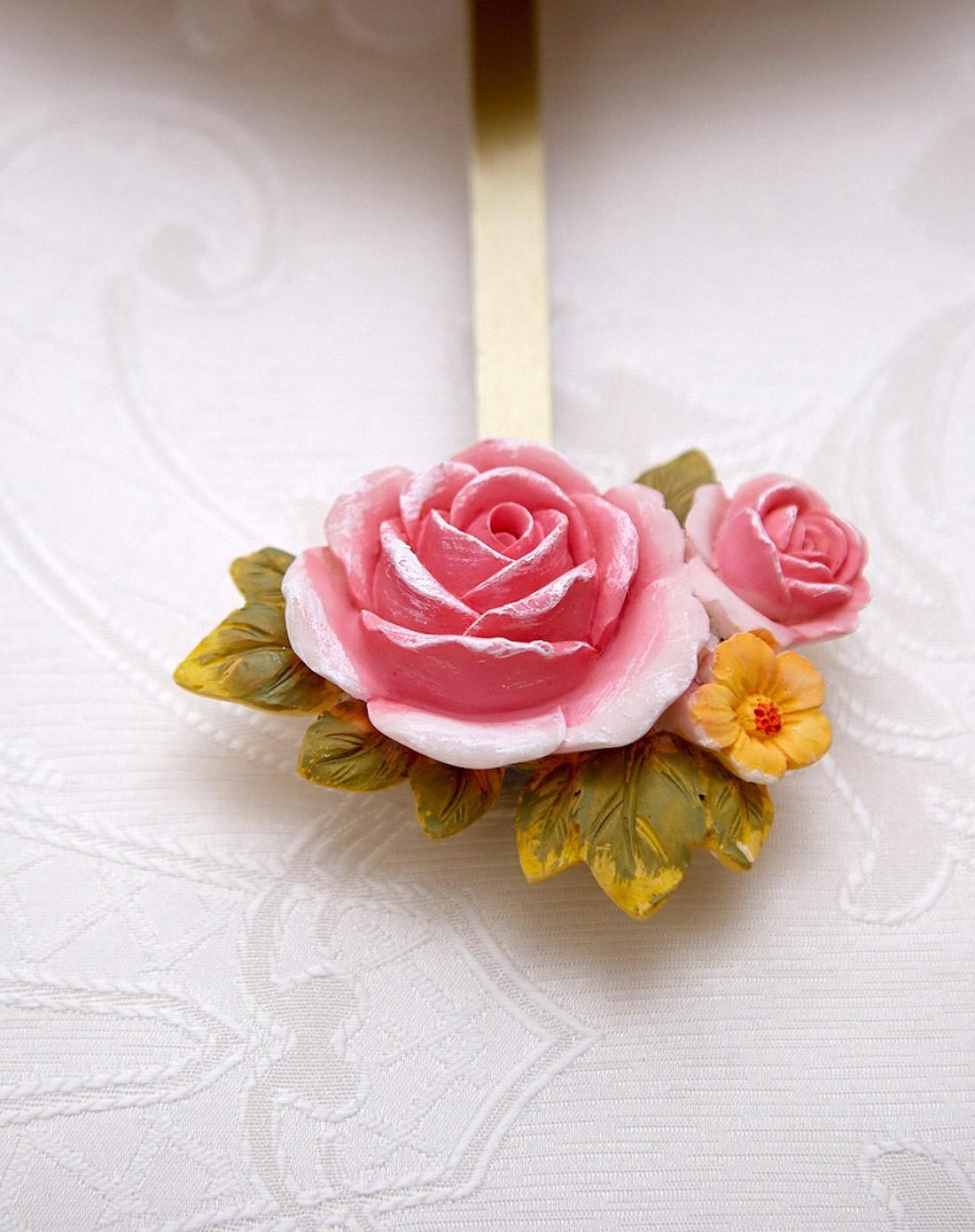 柠檬树家居装饰专场彩绘粉色玫瑰花简洁钟面带摆挂钟