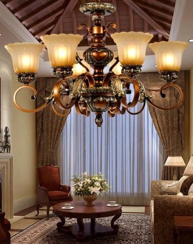 卡信之光灯饰专场6头欧式吊灯 复古浪漫 客厅卧室kchb