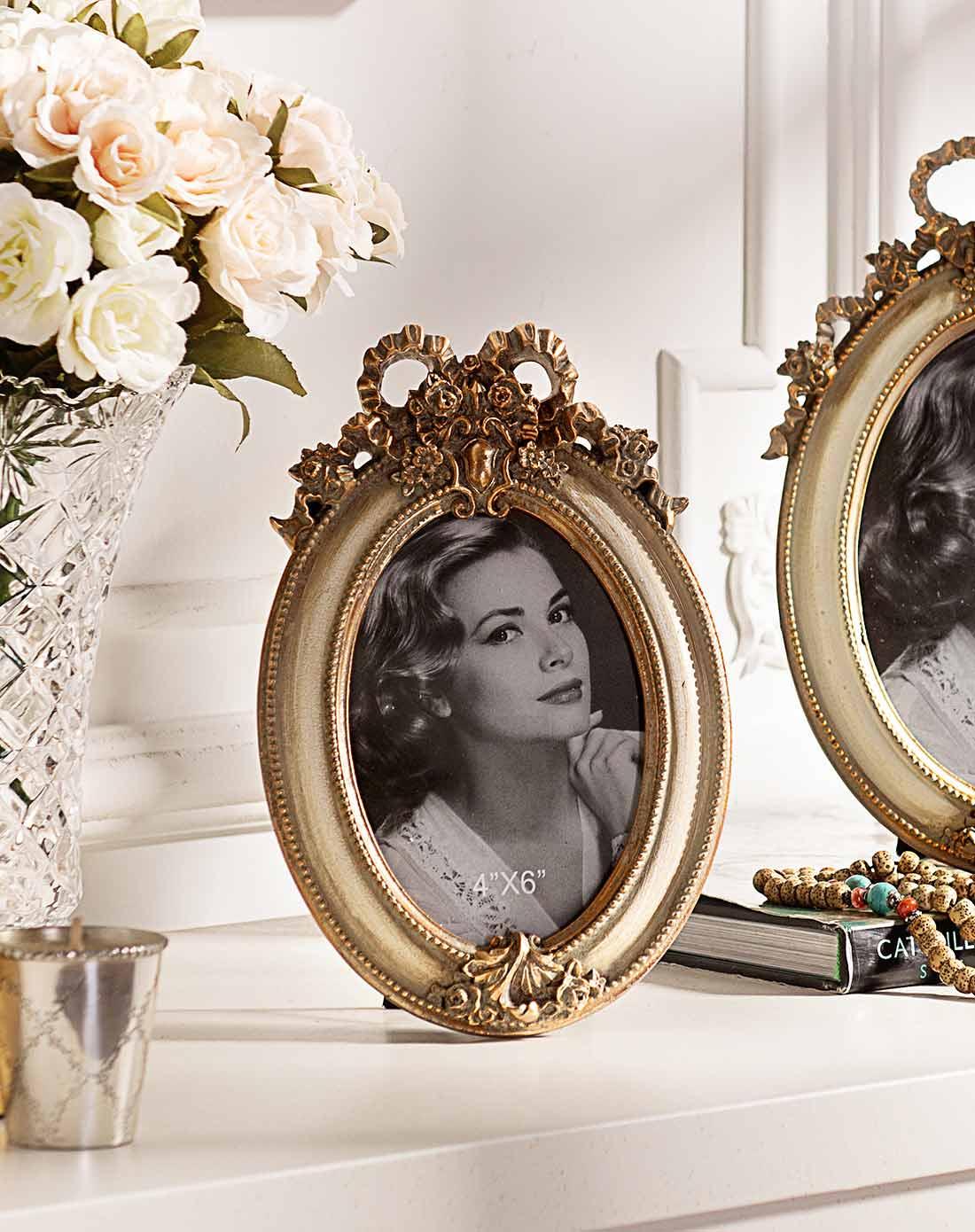 圣多纳欧式白色装饰相框摆件 椭圆形6寸