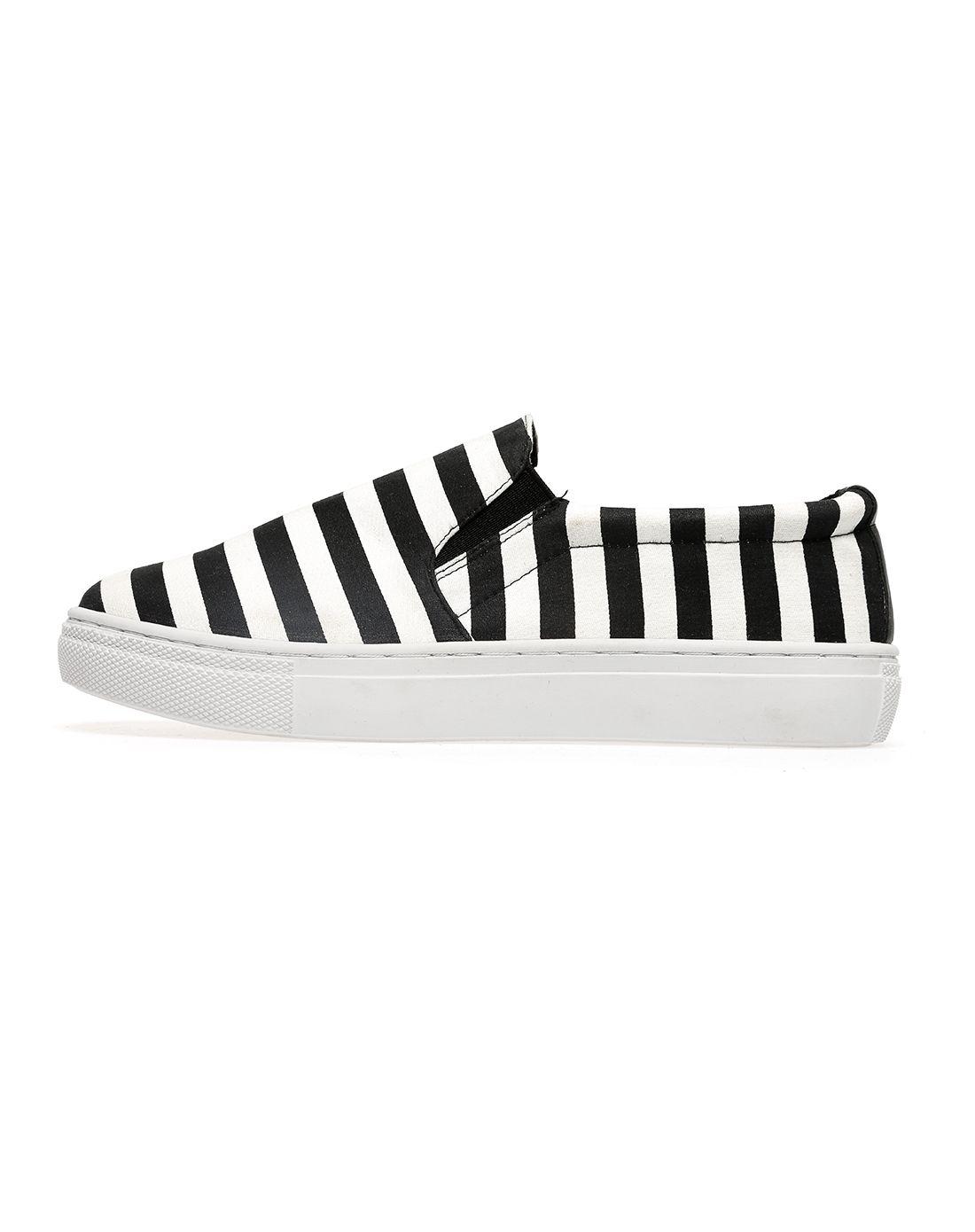 黑白条纹乐福鞋lf-09