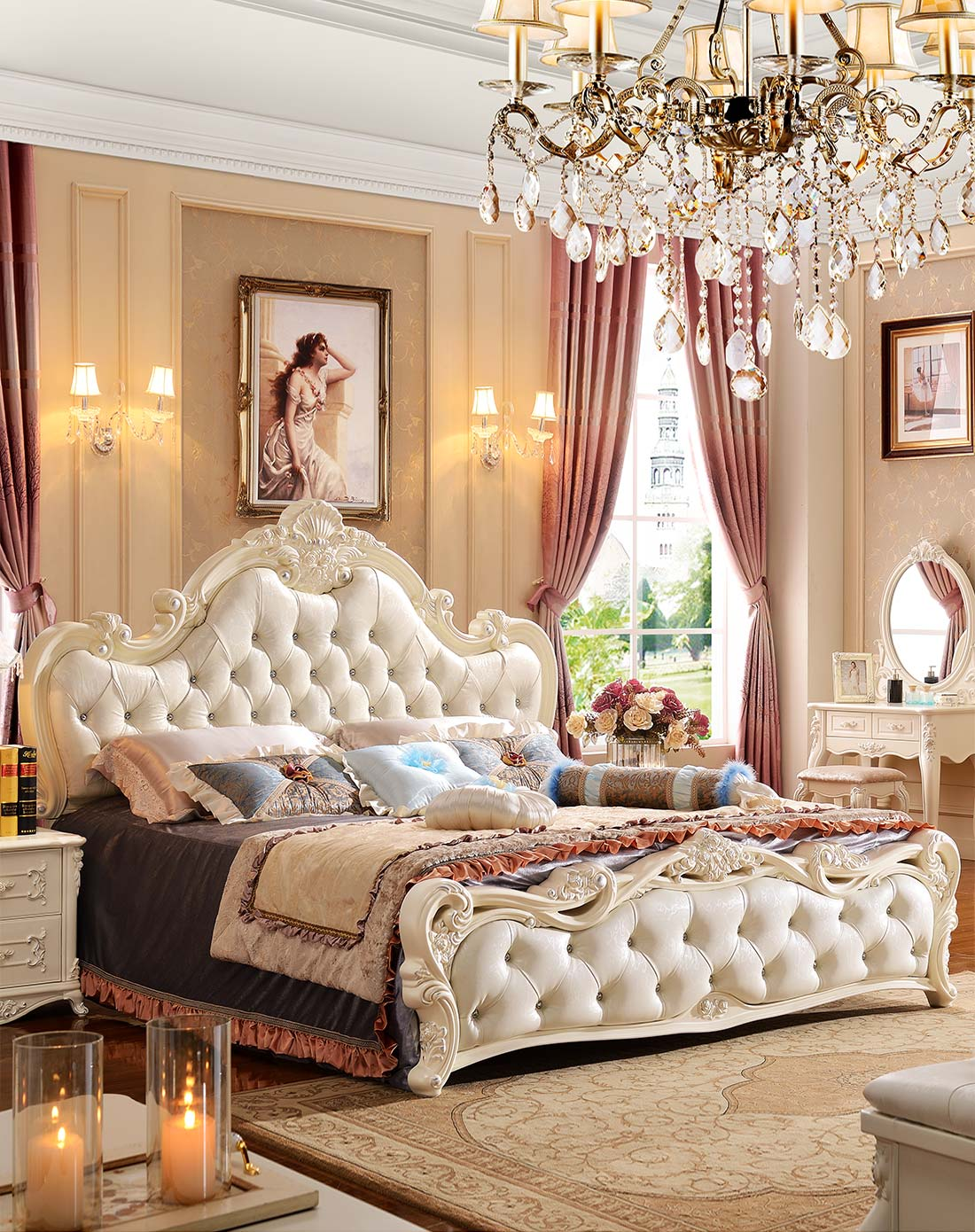 欧式奢华婚床 双人床1.8m