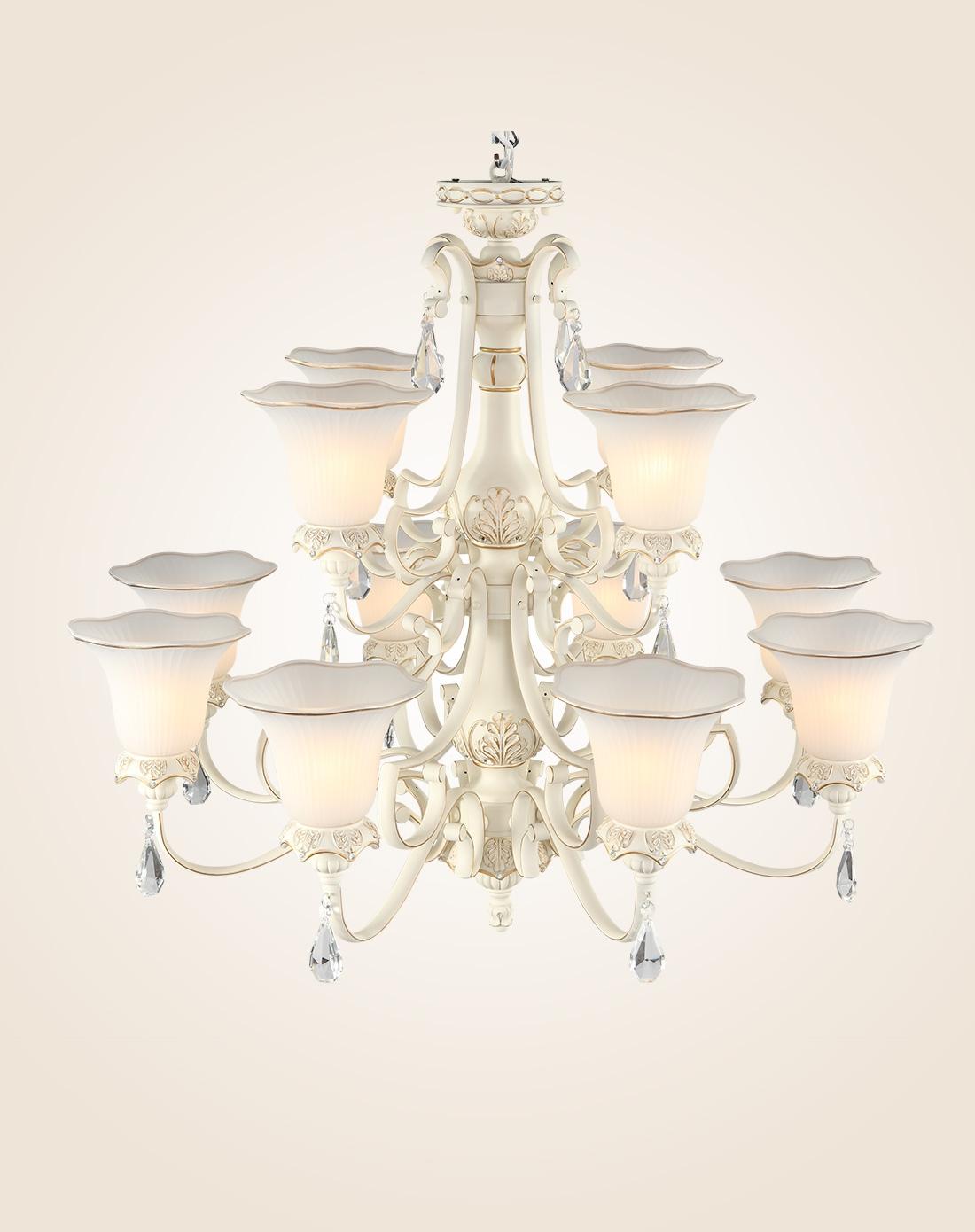 大堂客厅灯饰 12头吊灯 适用田园/法式/欧式等风格图片