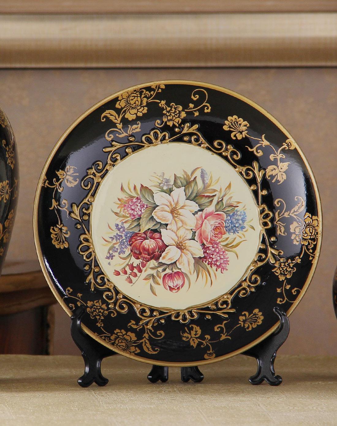 陶瓷黑金花色三件套客厅欧式摆件送人礼品