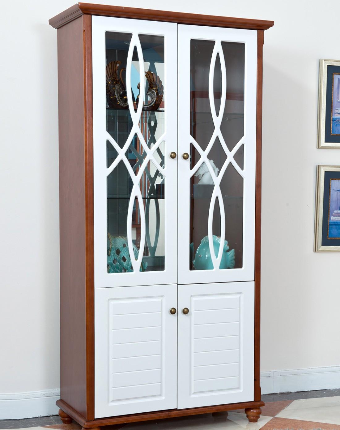 几度jidu家具专场时尚简约客厅双门实木酒柜白色面板