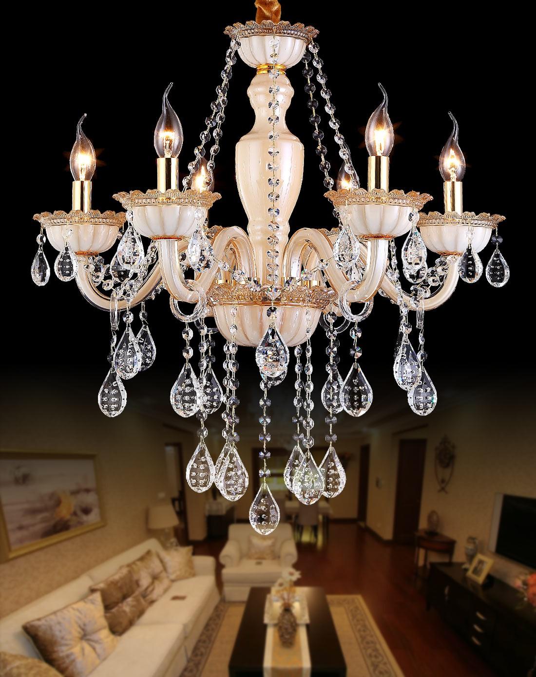 欧式客厅卧室艺术水晶吊灯 6头