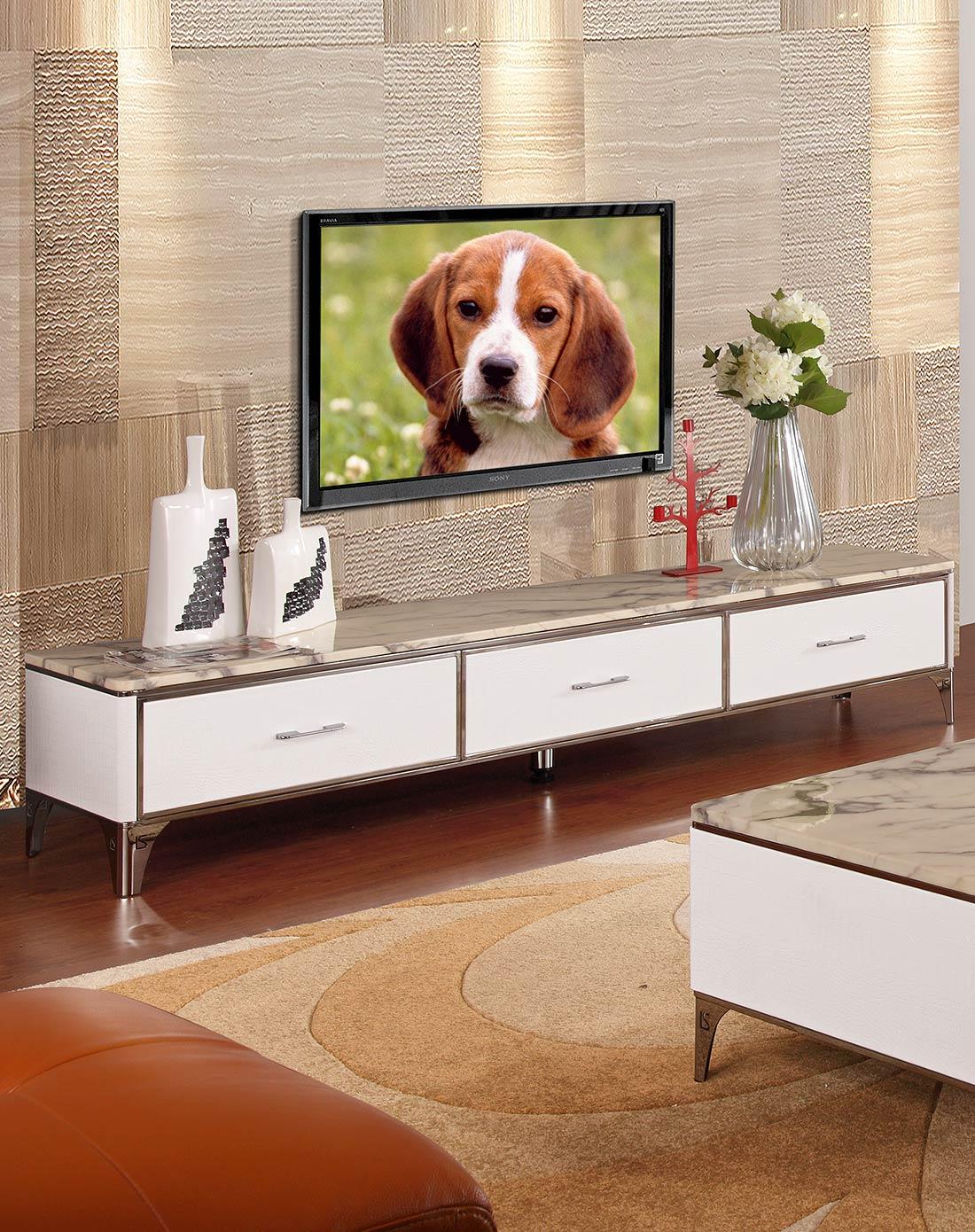 现代时尚大理石不锈钢电视柜