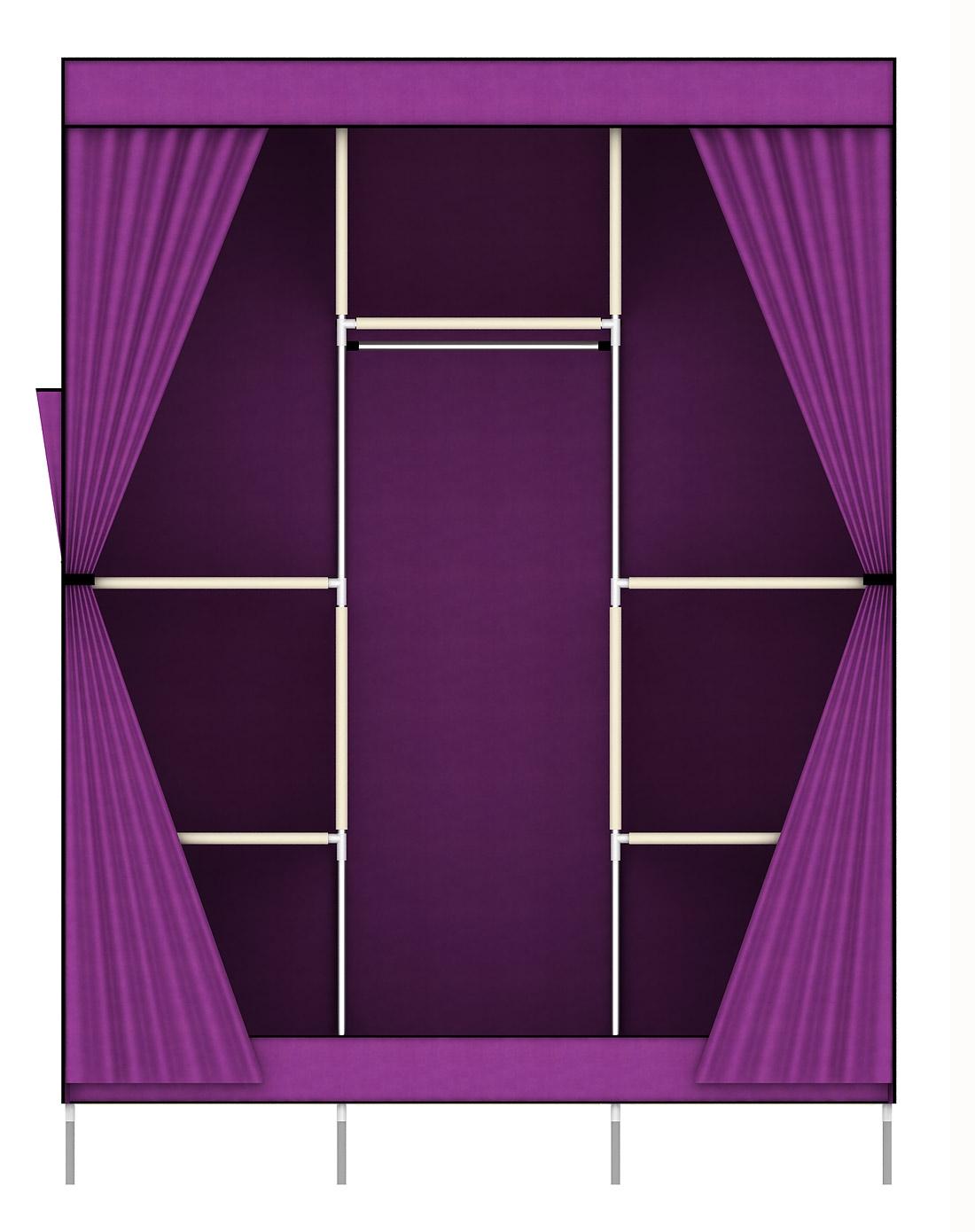 双开侧拉门欧式布衣柜紫色