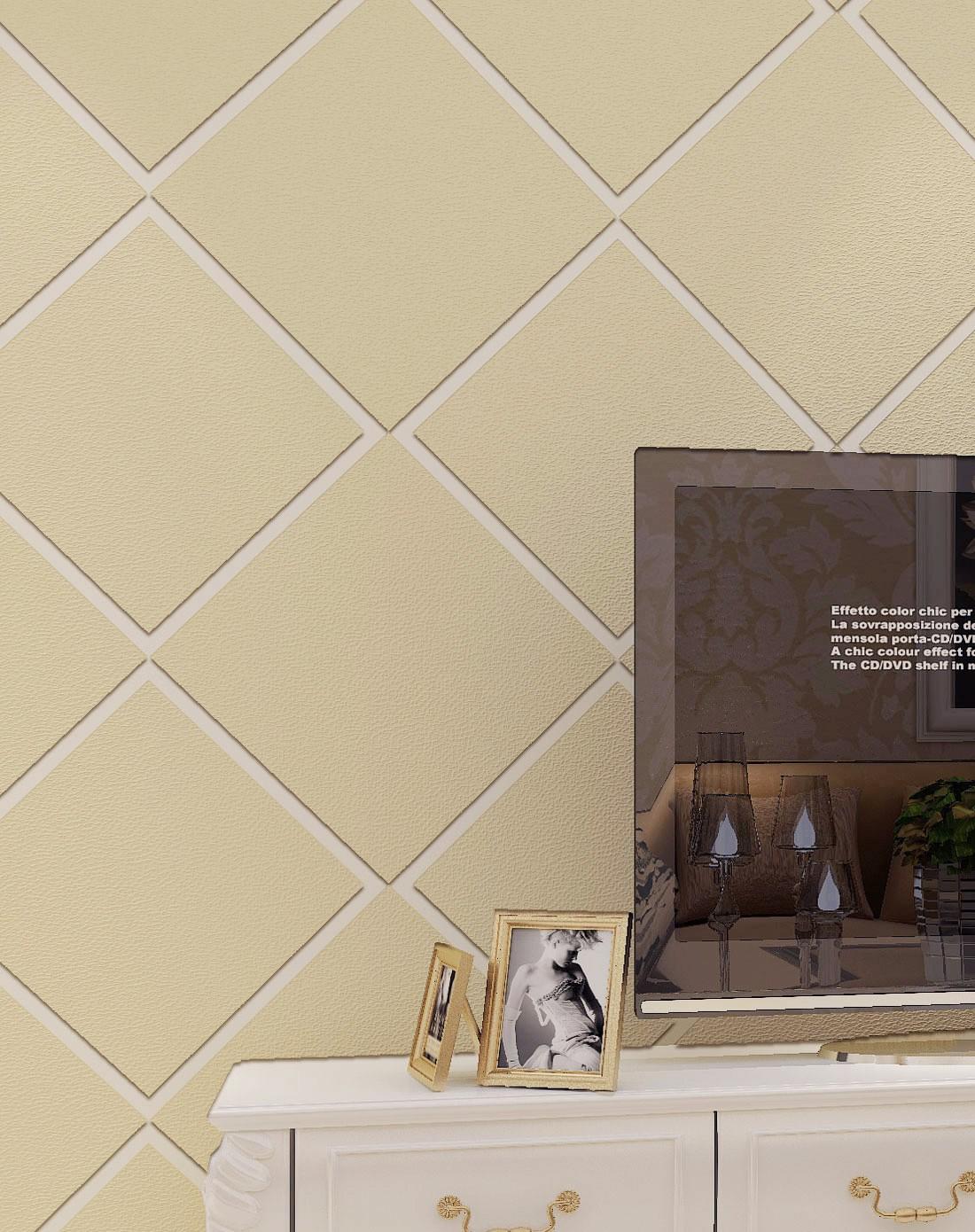 纸尚美学墙纸专场米黄色3d立体欧式简约高档鹿皮绒t6图片