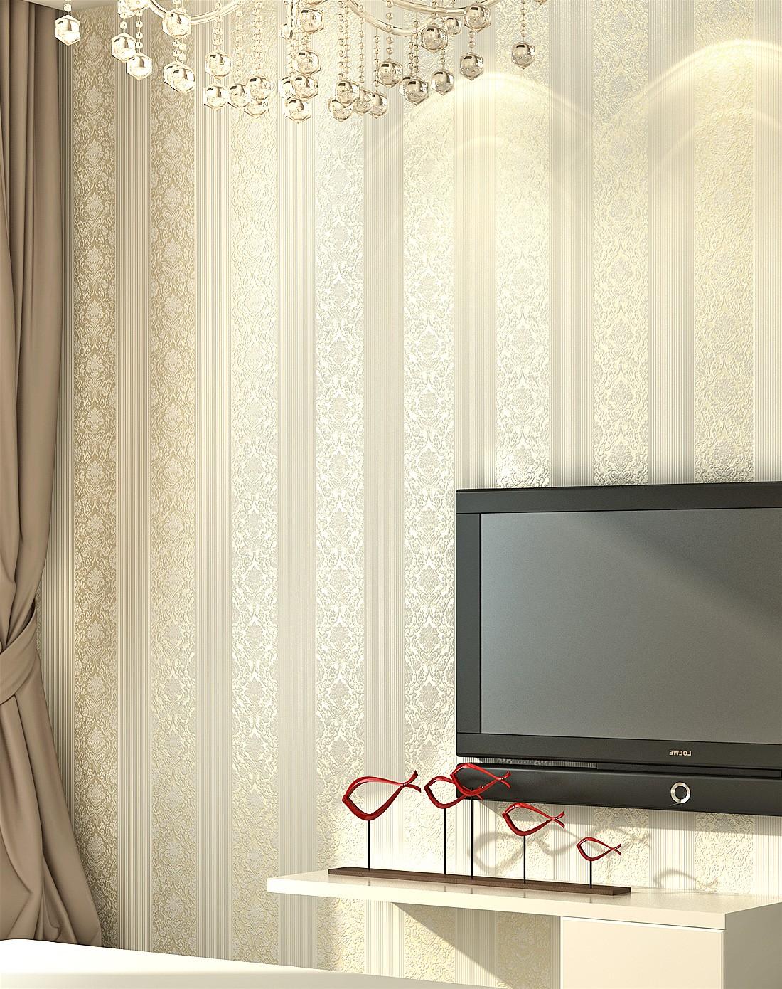 浅黄色欧式简约卧室客厅无纺布墙纸
