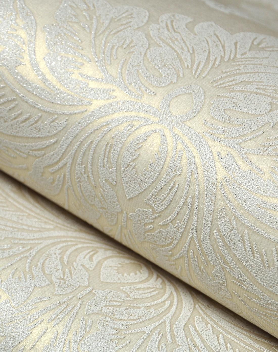 浅黄色欧式奢华圆网鎏金无纺布墙纸