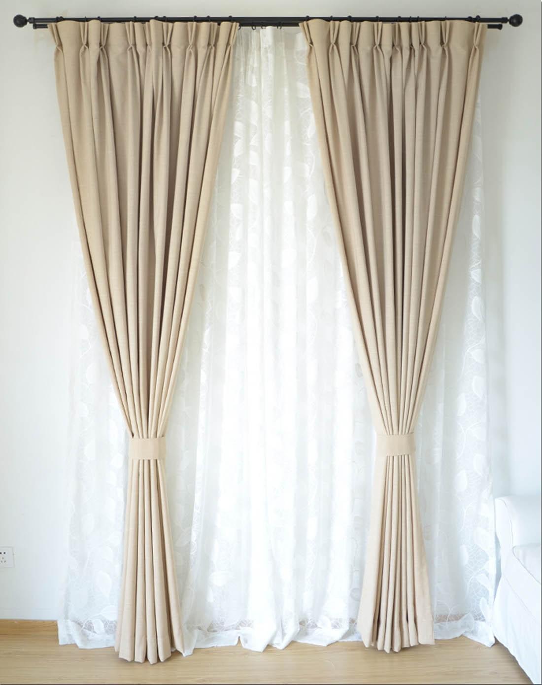 澳美斯rmis布艺浅灰色麻布客厅全遮光布艺窗帘