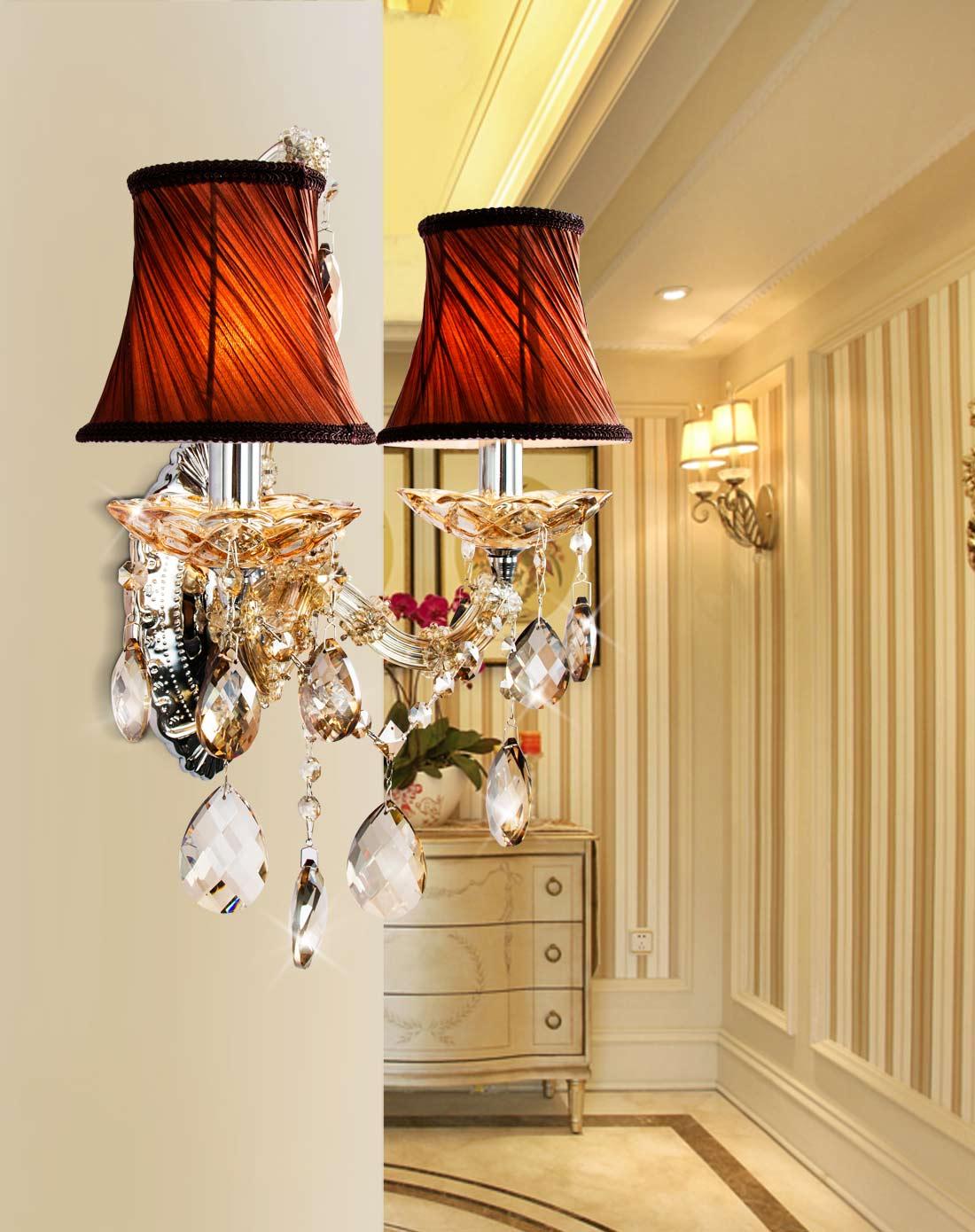 欧式壁灯水晶床头灯创意壁灯客厅卧室灯具