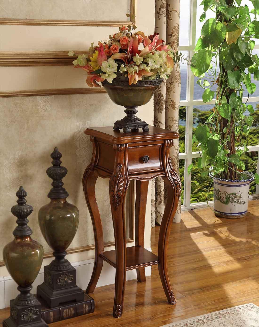 > 美式实木花架 电话桌